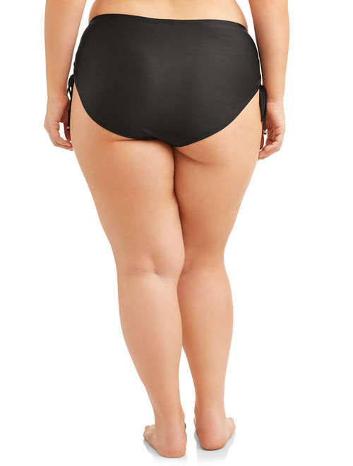 Time and Tru Women's Plus-Size Core Ruched Brief Swimsuit Bottom