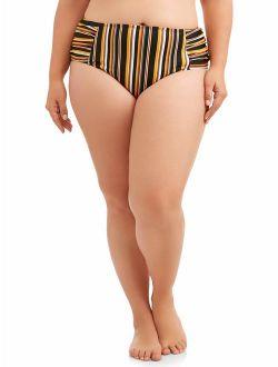 Women's Plus-size Spirit Stripe Ruched Bikini Swimsuit Bottom
