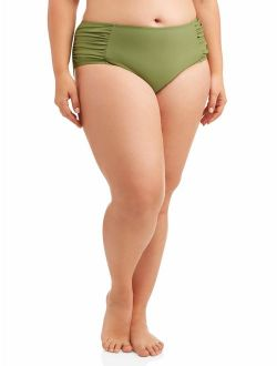 Women's Plus-size Solid Ruched Side Tie Swimsuit Bottom