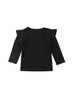 Little Baby Girl Cotton Ruffle Long Sleeve T-Shirt Blouse Spring Autumn Tops Tee (2-3T, Black)