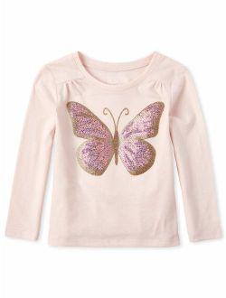 Long Sleeve Graphic Sequin Butterfly Yoke Tee (baby Girls & Toddler Girls)
