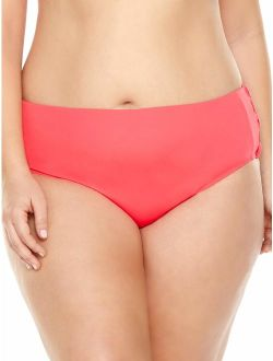 Women's Plus-size Solid Coral Tie Swimsuit Bottom