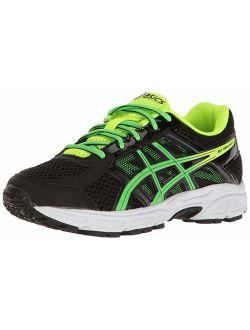 Boy's Gel-contend 4 Gs Running Shoe, Black/green/yellow, 5.5 D Us Big Kid