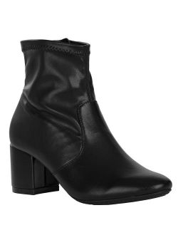 Black Synthetic Mid-length High Heel Boots