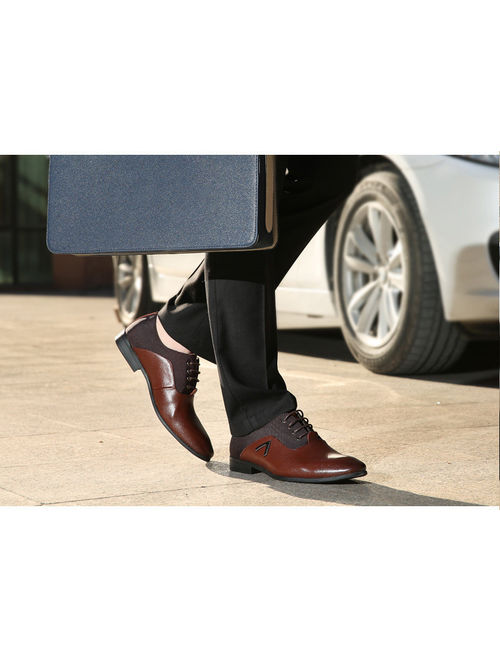 Mens Business Dress Formal Leather Shoes Flat Oxfords Loafers Lace Up Pointy Toe