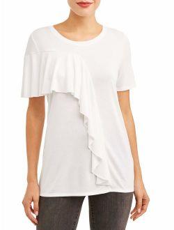 Women's Short Sleeve Ruffle T-Shirt
