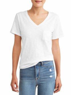 Women's Short-sleeve V-neck Slub Tee