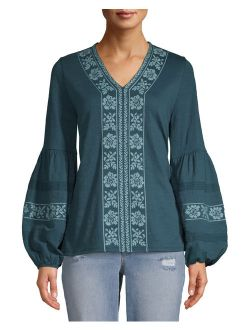 Women's Embroidered Sleeve Peasant Top