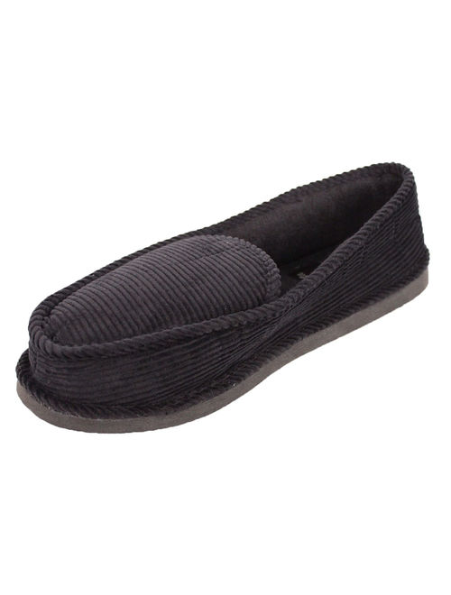 Ameta Mens Corduroy House Slippers Moccasins Loafers 12, Black