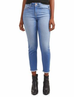 Women's Mid Rise Ankle Fray Hem Skinny Jean