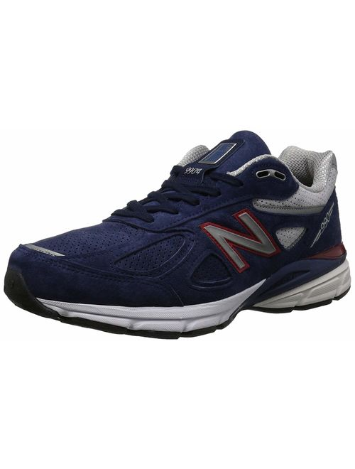 New Balance M990BR4: Men's Blue/Pigment Red 990V4 Athletic Running Sneakers