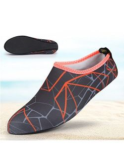 Barefoot Water Skin Shoes, Epicgadget(TM) Quick-Dry Flexible Water Skin Shoes Aqua Socks for Beach, Swim, Diving, Snorkeling, Running, Surfing and Yoga Exercise (Gray/Ora