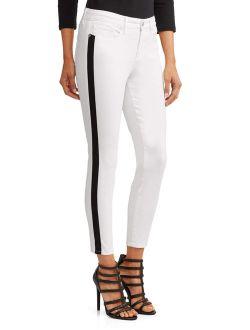 Sofia Skinny Side Stripe Mid Rise Ankle Jean Women's (white)