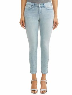 Sofia Skinny Studded Mid Rise Stretch Ankle Jean Women's (Light Wash)