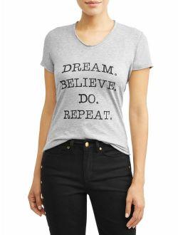 Dream Believe Do Short Sleeve V-neck Graphic T-shirt Women's