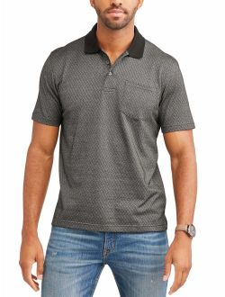 Men's Short Sleeve Pattern Jersey Polo, Up To Size 5xl