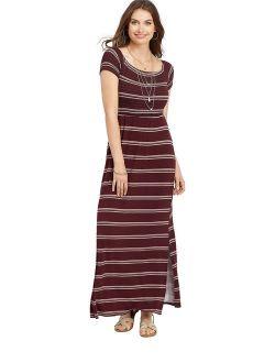 24/7 Stripe Smocked Maxi Dress