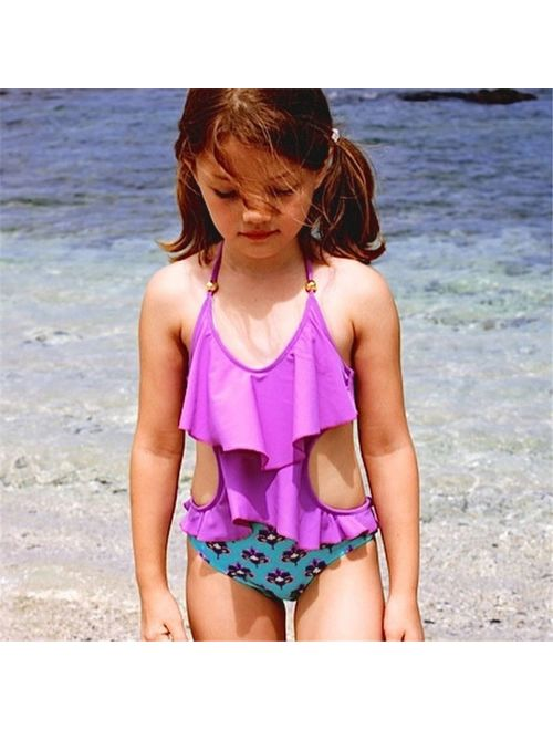 Toddler Baby Kids Floral Bikini Swimsuit Swimwear Tankini Bathing Suit One-piece