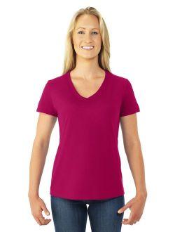 Womens Hd Cotton Short Sleeve V-neck T-shirt, Jzl39vr, L