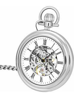 Original Mens Vintage Mechanical Pocket Watch - Stainless Steel Analog Skeleton Hand Wind Mechanical Watch With Belt Clip Stainless Steel Chain 6053.33113