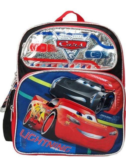 "Disney Pixar 95 Cars 3 Boys 12"" Canvas Black & Red School Backpack"