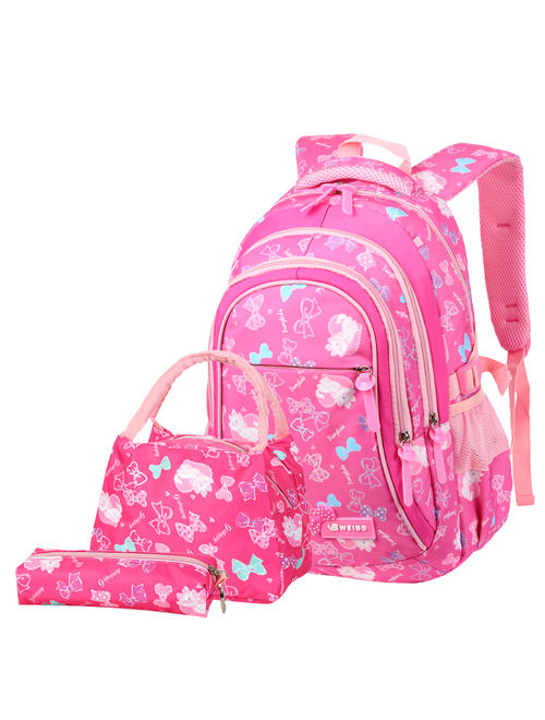 Vbiger 3 Pieces School Backpack 3-in-1 Student Shoulder Bags Set Adorable Student Book Bag Trendy Backpack, Lunch Tote Bag and Pencilcase for Students between 7-16 Years