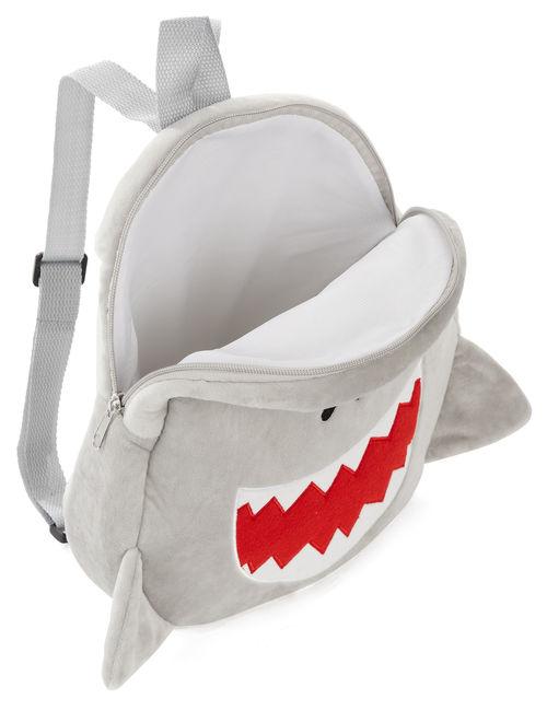 Carried Away Boys Gray Plush Shark Backpack