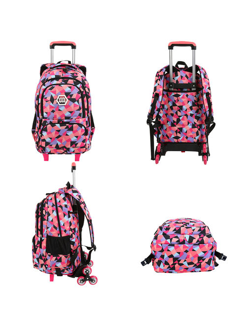 Girls Rolling School Backpack, Vbiger Large Capacity Travel Wheeled Backpack Trolley School Bag for Childs