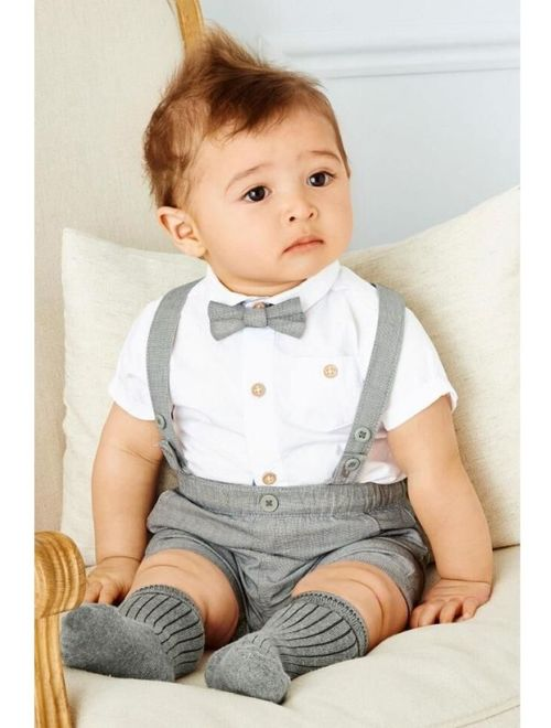 Kacakid Baby Boy Child Toddler Gentleman Suit +Bow Tie+Suspender Trousers Pants Suit Suspenders Style Short Sleeve Shirt + Short 2Pcs Set