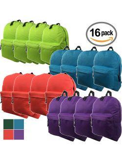 Wholesale 16.5 Inch Backpacks - Case of 16 Multicolored K-Cliffs Bulk School Bags