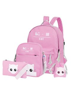 Canvas Kids Backpack Set 4pcs Casual Kitty School Bag For Teenage Girls( Pink)