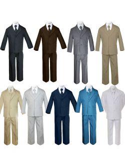 5pc Baby Toddler Boy Formal Suit Black Brown Navy Khaki Green White Taupe Sm-20