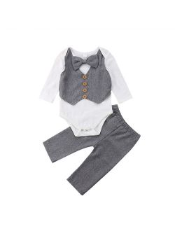 Infant Baby Boy Gentleman Outfits Long Sleeve Bowtie Romper+Pant Clothing Set
