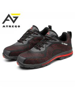 ATREGO Men's Mesh Breathable Lightweight Sports Safety Sneakers Steel Toe Trainers Outdoor Work Shoes