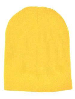 "Yellow Plain Short Beanie Skull Cap Ski Skate Hat-8""long"
