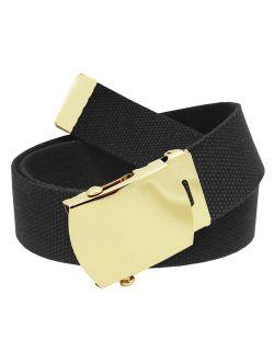 All Sizes Men's Golf Belt in 1.5 Gold Brass Slider Belt Buckle with Adjustable Canvas Web Belt Small Black
