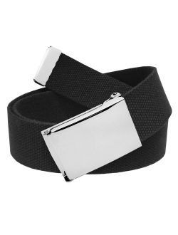 All Sizes Men's Golf Belt in 1.5 Polished Silver Flip Top Buckle with Adjustable Canvas Web Belt Small Black