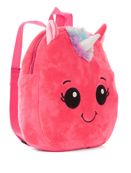 Carried Away Girls Pink Plush Unicorn Backpack