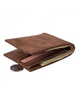 VICOODA Wallet for Men, PU Leather Credit Card Holder with 4 Card Slots & Zipper Coins Pocket/Slim One Folded Square Short Wallet Perfect Gift for Family Friends