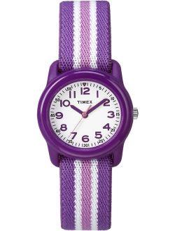 Girls Time Machines Purple/Pink Stripe Watch, Elastic Fabric Strap