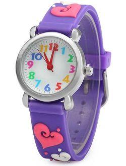 Waterproof 3D Cute Cartoon Digital Silicone Wristwatches Time Teacher Gift for Little Girls Boy Kids Children (Purple -Love)