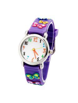 3D Lovely Cartoon Children Watch Silicone Strap Waterproof Digital Round Quartz Wristwatches Time Teacher Gift for Girls Purple-butterfly