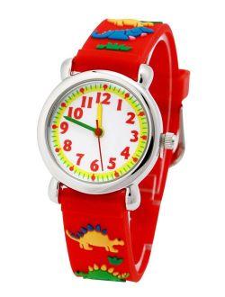 3D Lovely Cartoon Children Watch Silicone Strap Waterproof Digital Round Quartz Wristwatches Time Teacher Gift for Girls Red-dinosaur