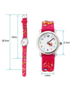 (Butterfly Pattern) Girls Boy Kids Children's Waterproof 3D Cute Cartoon Digital Silicone Wristwatches Perfect Christmas birthday gift