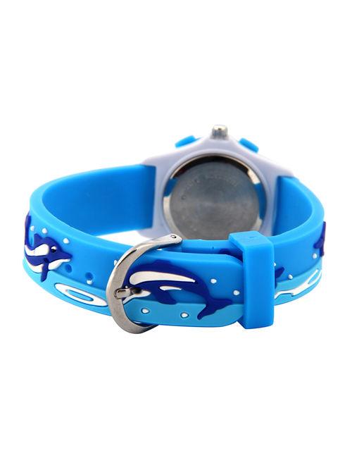 3D Lovely Cartoon Children Watch Silicone Strap Waterproof Digital Round Quartz Wristwatches Time Teacher Gift for Girls Blue-whale