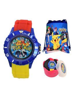 Pokemon Pikachu Unisex Silicone Quartz Analog Wrist Watch For Kids Children . Modern Display.