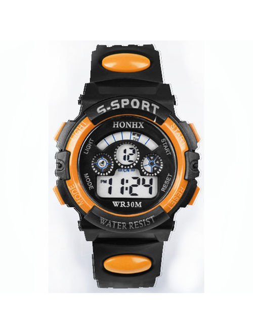 iLH Mallroom Waterproof Children Boy Digital LED Quartz Alarm Date Sports Wrist Watch Orange