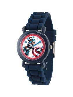 Marvel's Avengers: Captain America Boys' Blue Plastic Time Teacher Watch, Blue Silicone Strap