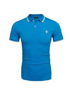 Hascon Men Fashion Casual Turn Down Collar Short Sleeve Slim Fit Polo Shirt T Shirt Tops HITC