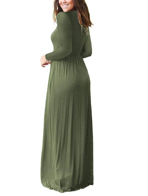 AUSELILY Women Long Sleeve Loose Plain Maxi Dresses With Pockets